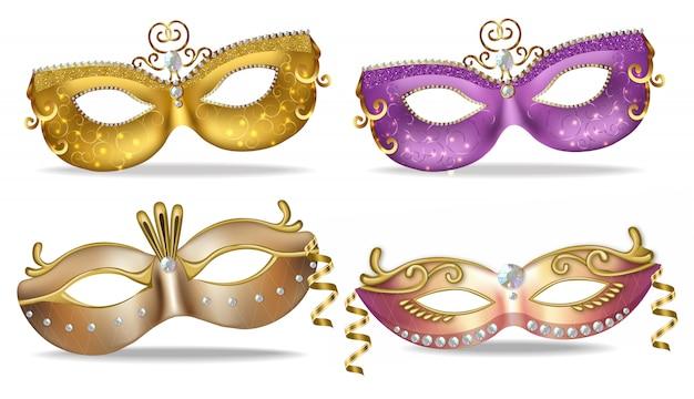 Collezione di maschere dorate e viola Vettore Premium