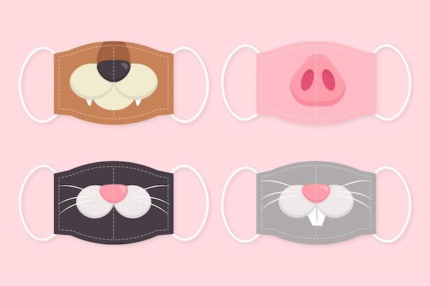 Collezione di maschere per animali Vettore gratuito