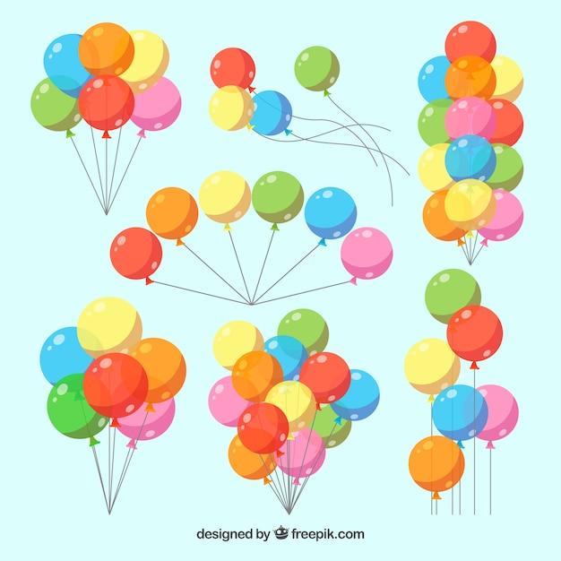 Collezione di mazzi di palloncini colorati in stile 2d Vettore gratuito