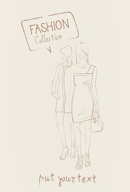 Collezione di moda di vestiti insieme di modelli che indossano l'abito alla moda abbigliamento Vettore Premium