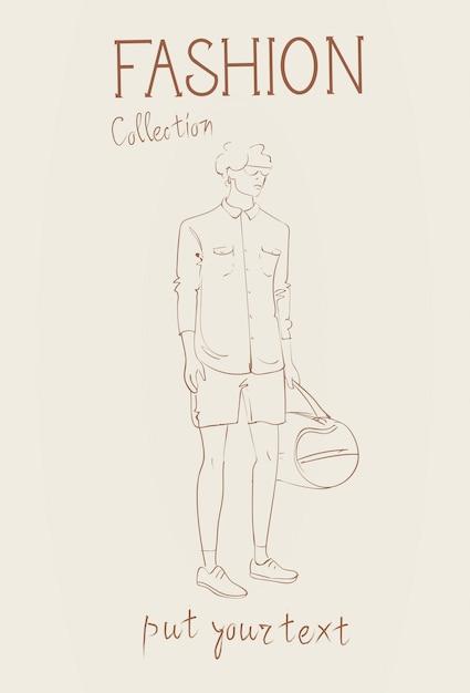 Collezione di moda di vestiti modello maschile indossando l'abito alla moda schizzo Vettore Premium