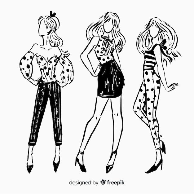 Collezione di moda schizzo con modelli Vettore gratuito