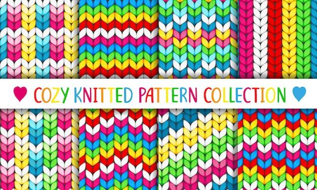 Collezione di modelli accoglienti lavorati a maglia arcobaleno Vettore Premium