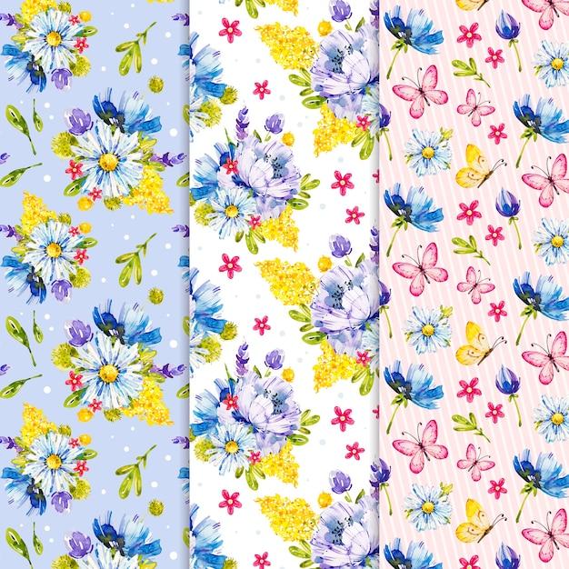 Collezione di modelli colorati ad acquerello primavera Vettore gratuito