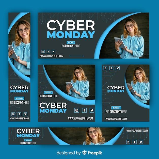 Collezione di modelli di banner di cyber lunedì Vettore gratuito