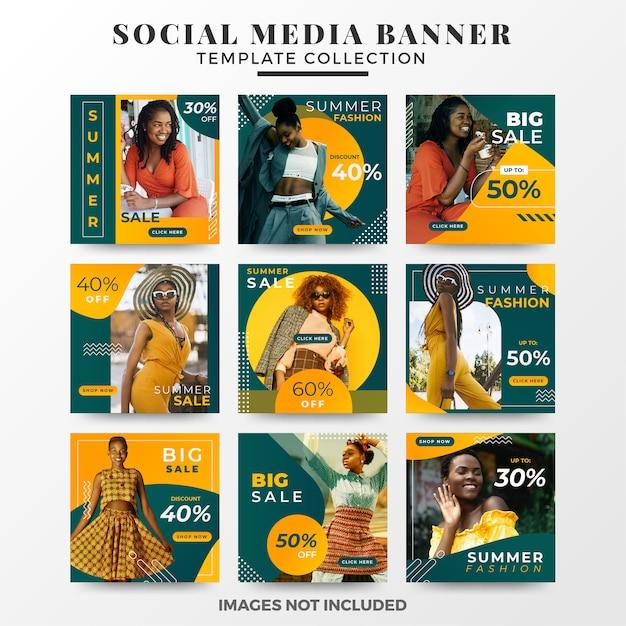 Collezione di modelli di banner di social media estate Vettore Premium