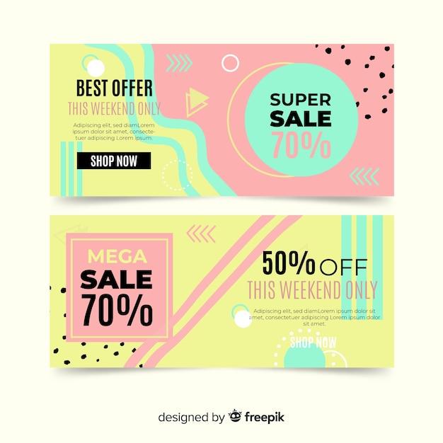 Collezione di modelli di banner di vendita di memphis Vettore gratuito