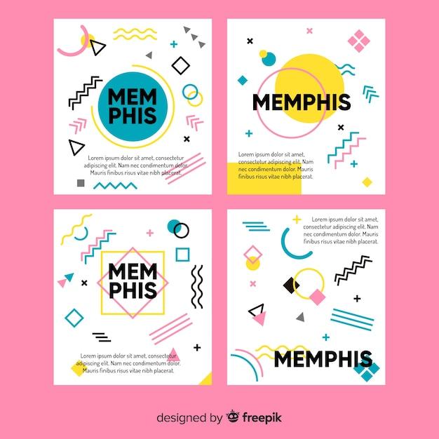Collezione di modelli di brochure in stile memphis Vettore gratuito
