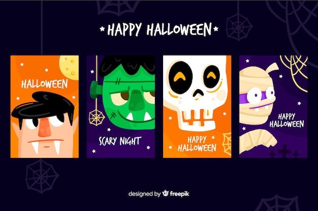 Collezione di modelli di carta di halloween piatta Vettore gratuito