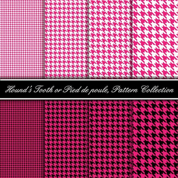 Collezione di modelli di denti da segugio rosa Vettore Premium