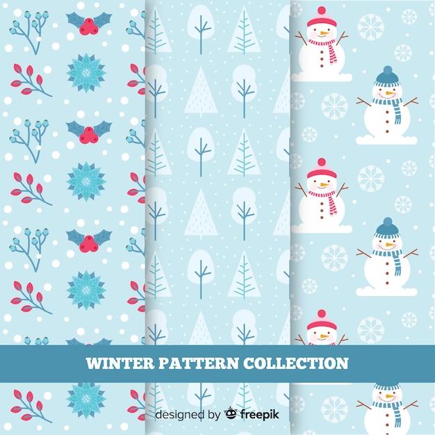 Collezione di modelli di elementi invernali Vettore gratuito