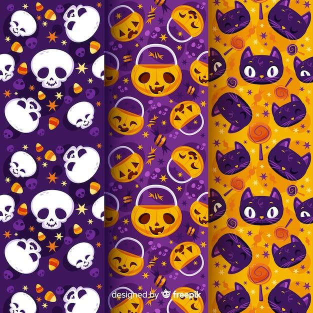Collezione di modelli di halloween con teschi di zucca e gatti Vettore gratuito