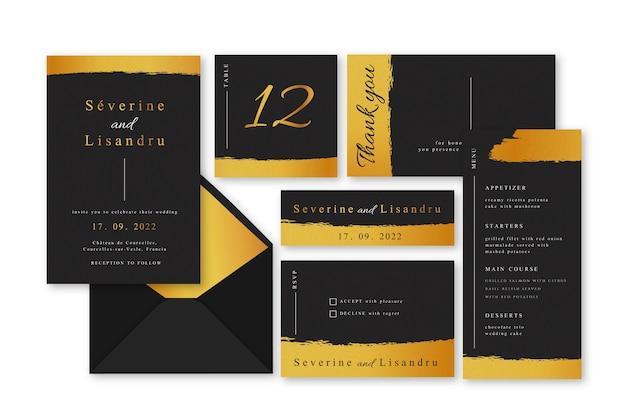 Collezione di modelli di invito matrimonio elegante Vettore gratuito