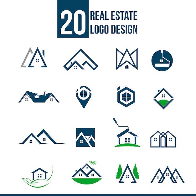 Collezione di modelli di logo immobiliare Vettore Premium