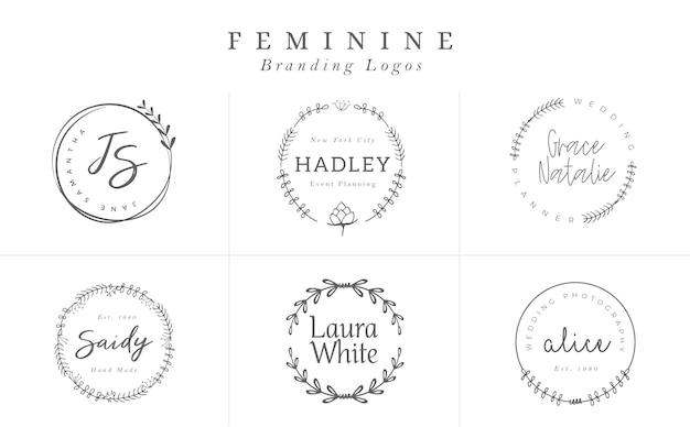Collezione di modelli di logo. logo impostato. loghi minimalisti design logo premade Vettore Premium