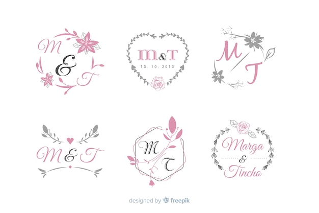 Collezione di modelli di logo monogramma di nozze Vettore gratuito
