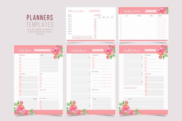 Collezione di modelli di pianificatore floreale Vettore Premium