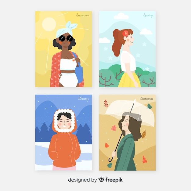 Collezione di modelli di poster stagionale dell'acquerello Vettore gratuito