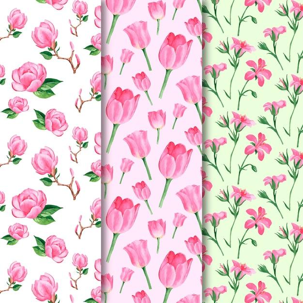 Collezione di modelli di primavera dell'acquerello con fiori Vettore gratuito