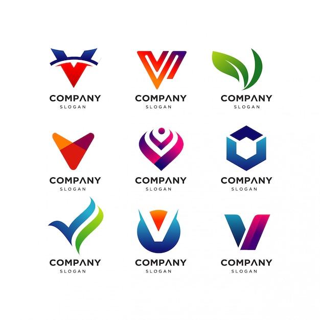 Collezione di modelli di progettazione del logo di lettera v. Vettore Premium