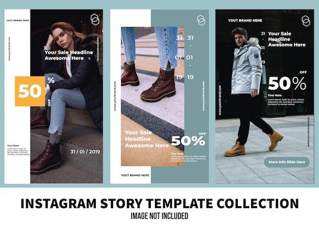 Collezione di modelli di storia di moda instagram Vettore Premium