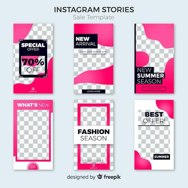 Collezione di modelli di storie instagram vendita Vettore gratuito