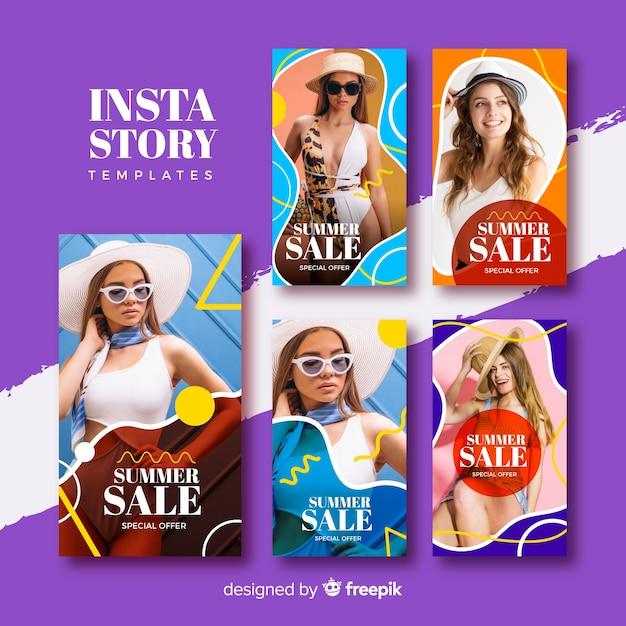 Collezione di modelli di vendita estate instagram storie Vettore gratuito