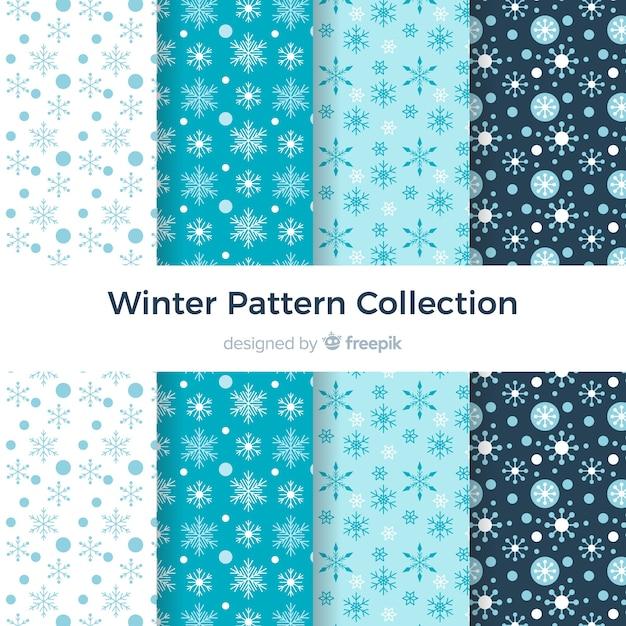 Collezione di modelli invernali piatti Vettore gratuito