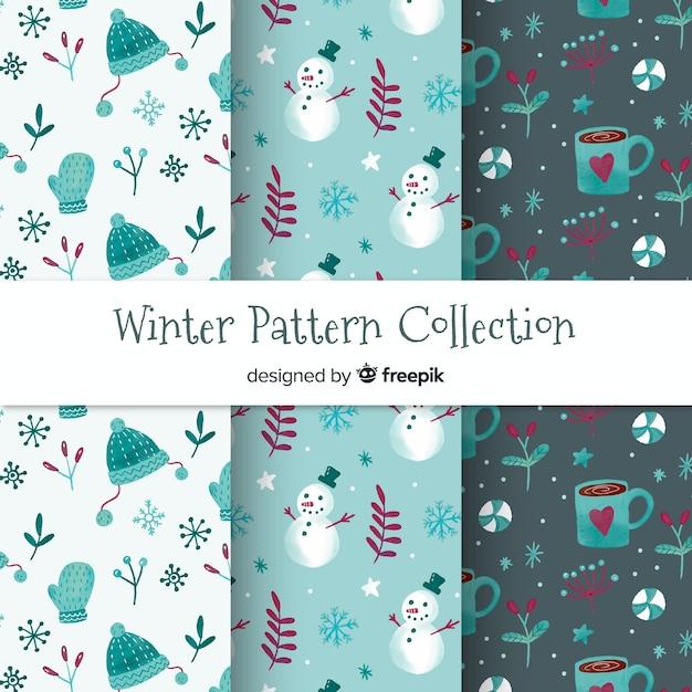 Collezione di modelli inverno acquerello Vettore gratuito