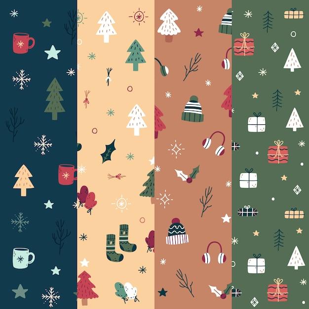 Collezione di modelli natalizi design piatto Vettore gratuito