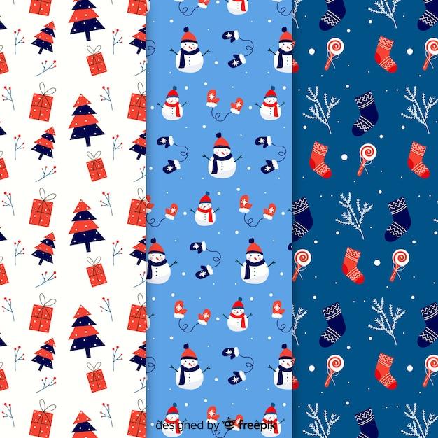 Collezione di modelli natalizi in design piatto Vettore gratuito