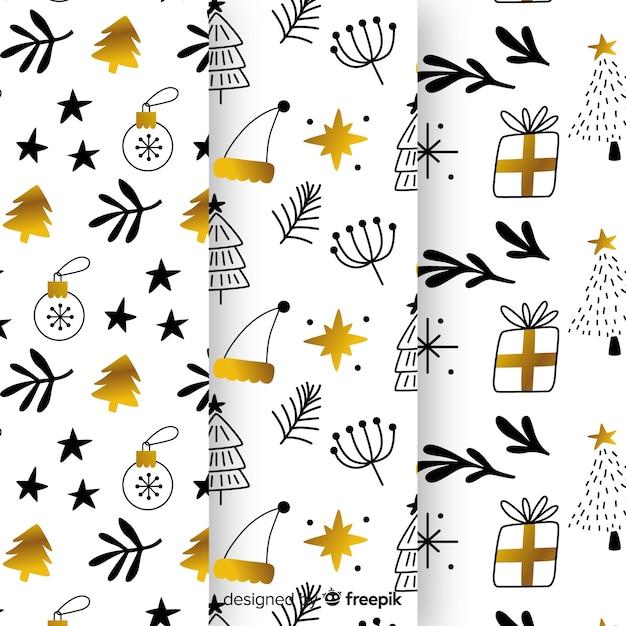 Collezione di modelli natalizi neri e dorati Vettore gratuito
