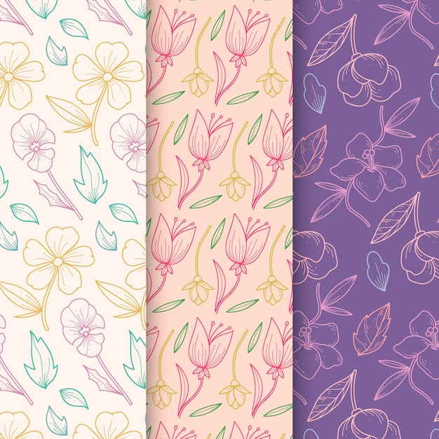 Collezione di modelli primavera disegnati a mano in design floreale Vettore gratuito