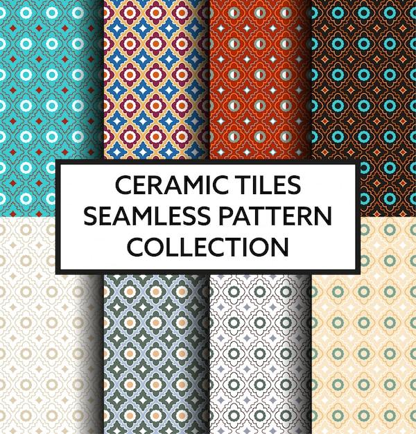 Collezione di modelli tradizionali di piastrelle di ceramica Vettore Premium