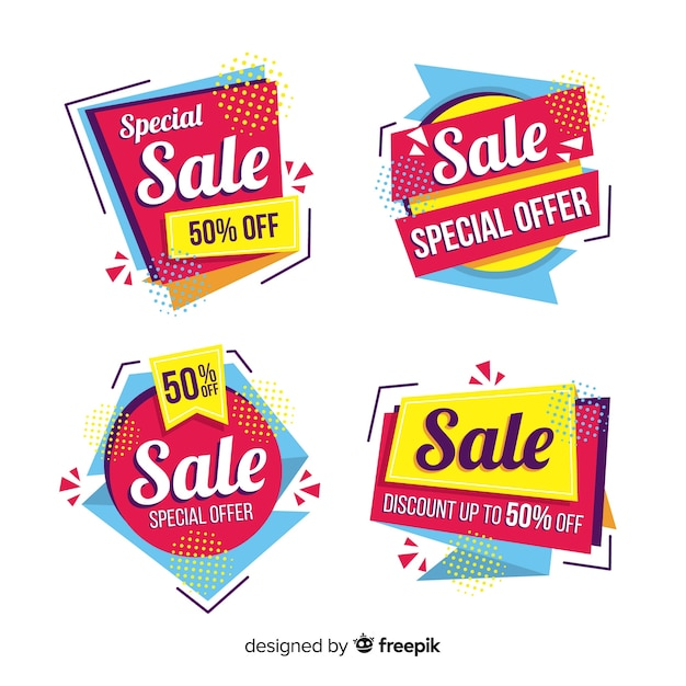 Collezione di modello astratto banner di vendita Vettore gratuito