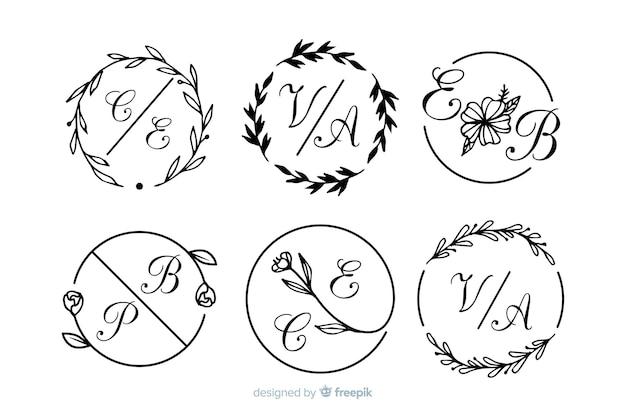 Collezione di monogrammi ornamentali di nozze Vettore gratuito