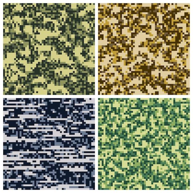 Collezione di mosaici pixel mimetici militari Vettore Premium