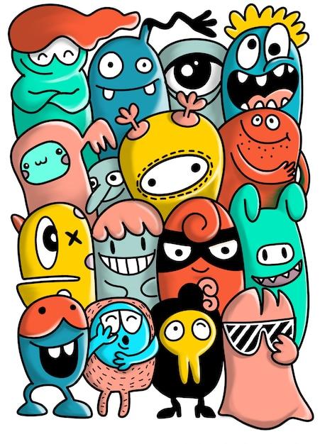 Collezione di mostri dei cartoni animati. Vettore Premium