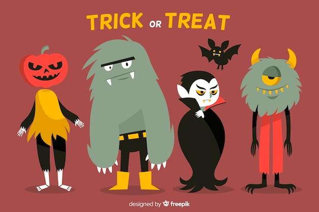 Collezione di mostri di halloween disegnati a mano Vettore gratuito