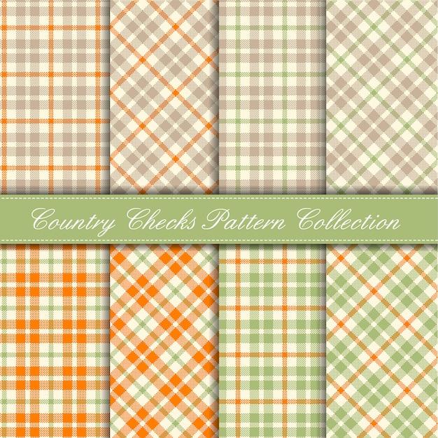Collezione di motivi a quadri country arancione, verde pastello e beige Vettore Premium