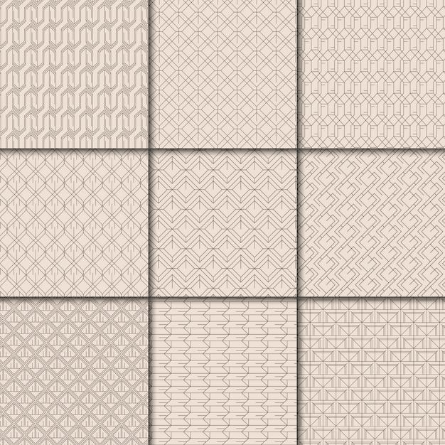 Collezione di motivi geometrici beige minimal Vettore gratuito