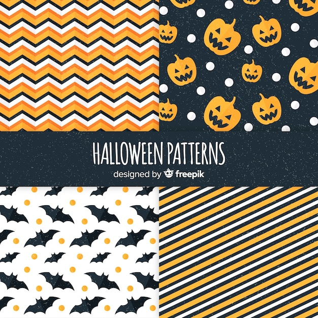 Collezione di motivi geometrici di halloween in design piatto Vettore gratuito