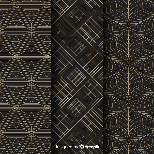 Collezione di motivi geometrici di lusso Vettore gratuito