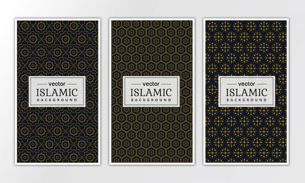 Collezione di motivi geometrici islamici di lusso Vettore Premium