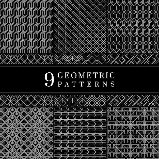 Collezione di motivi geometrici minimali Vettore gratuito