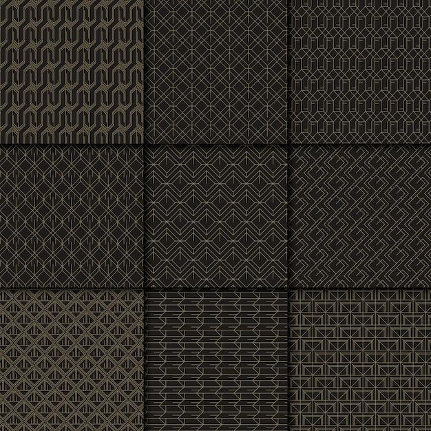 Collezione di motivi geometrici neri e oro Vettore gratuito