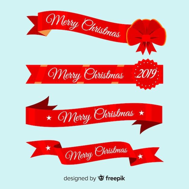 Collezione di nastri natalizi Vettore gratuito