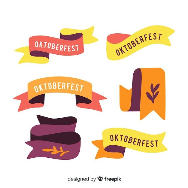 Collezione di nastri più oktoberfest design piatto Vettore gratuito