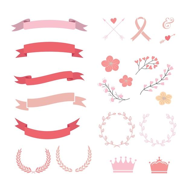 Collezione di nastri rosa e rossa Vettore gratuito