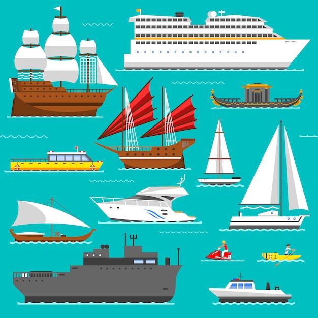 Collezione di navi Vettore Premium
